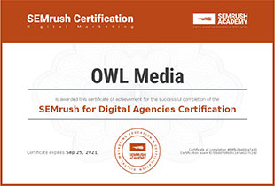 Сертификат SEMrush for Digital Agencies