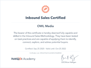 Сертификат Hubspot Inbound Sales
